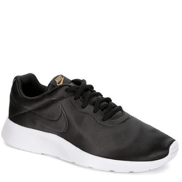 Nike Shoes | Womens Black Tanjun Premium Satin Sneakers | Poshmark